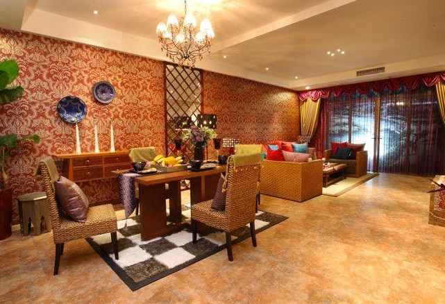 色彩斑斓东南亚风设计家居客厅整体装修图片