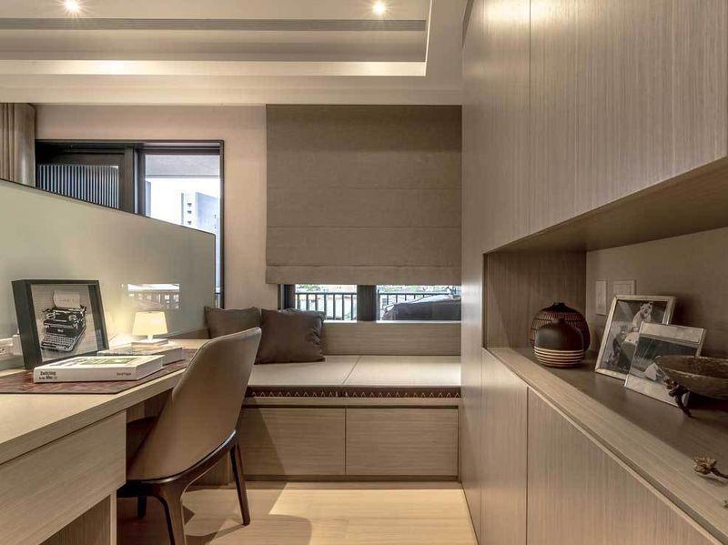 55平现代简约小户型书房榻榻米设计效果图