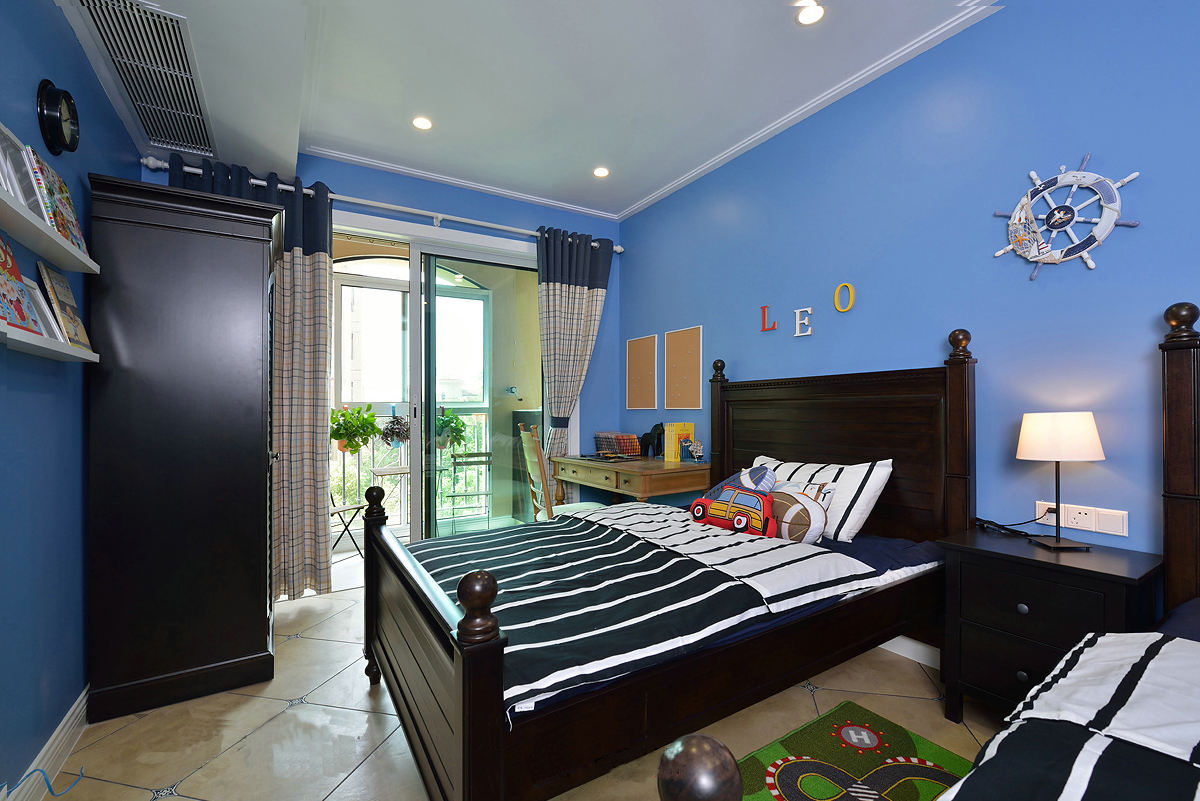 蔚蓝现代美式风格儿童房背景墙效果图