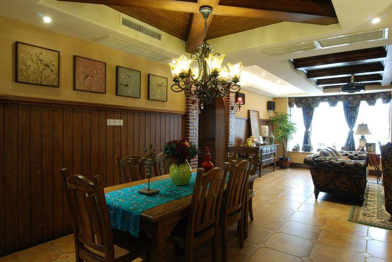 复古美式风格复式室内餐厅设计装饰案例图