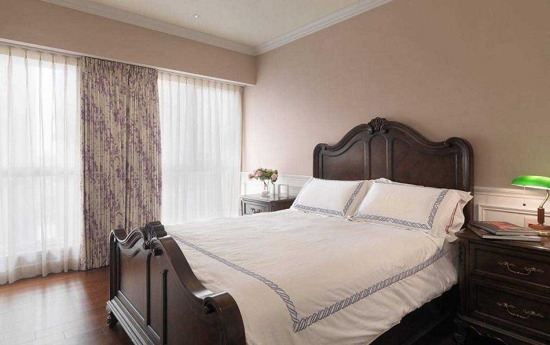 浪漫简美复古卧室实木床效果图
