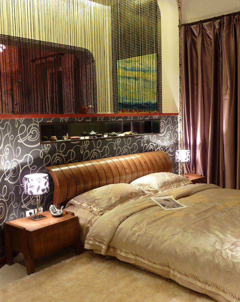 温馨现代中式混搭卧室线帘隔断效果图