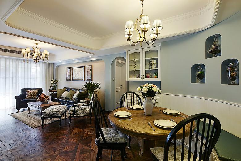 蓝色复古美式餐厅背景墙设计效果图
