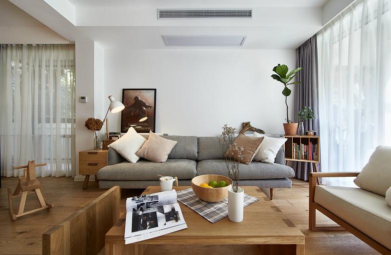 原木韵味实用北欧风格客厅沙发效果图