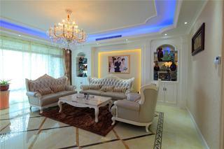 时尚大气简欧风格客厅灯具搭配设计效果图