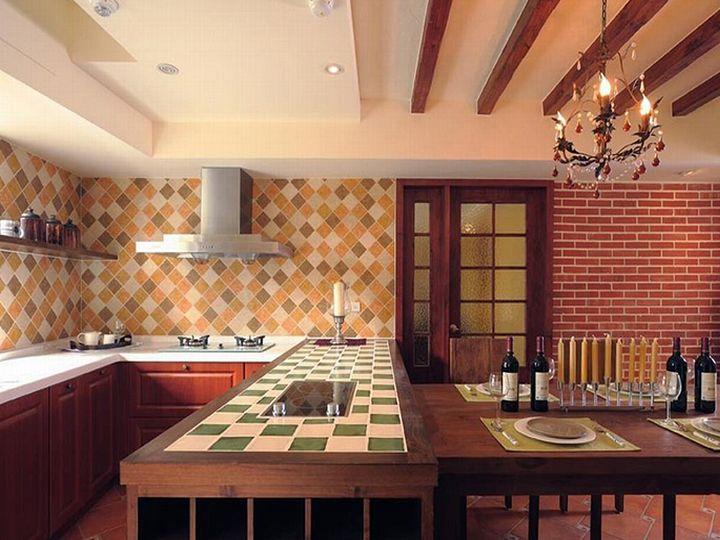 田园复古风家居厨房设计装修效果图