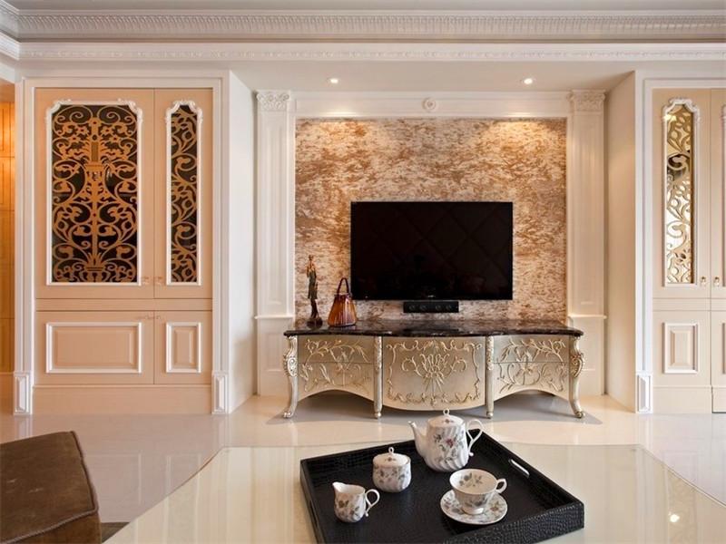 复古低奢欧式电视背景墙装饰效果图