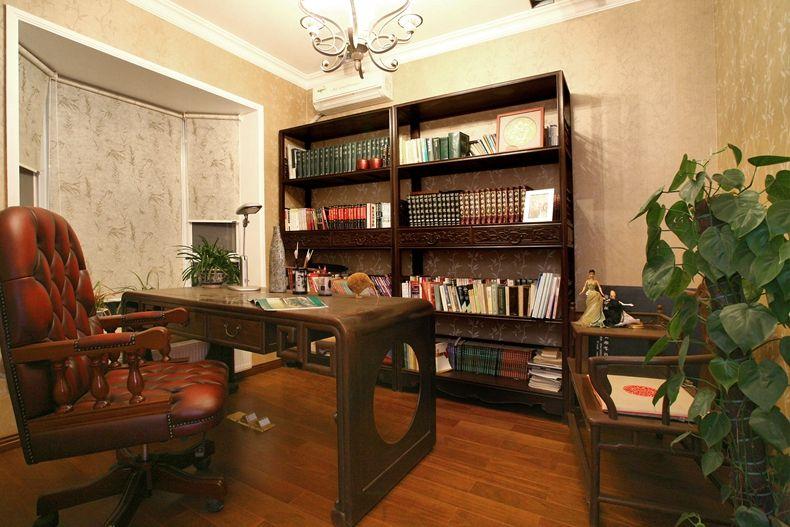 欧式复古实木书房博古架效果图