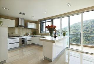 明亮舒适现代风厨房白色橱柜效果图