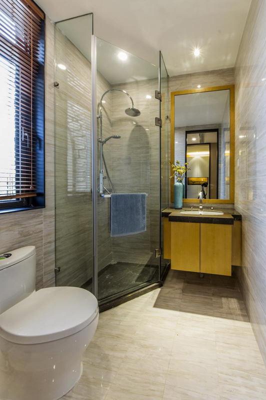 简约中式卫生间小淋浴房隔断设计效果图