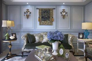梦幻复古欧式风格客厅壁画装饰效果图