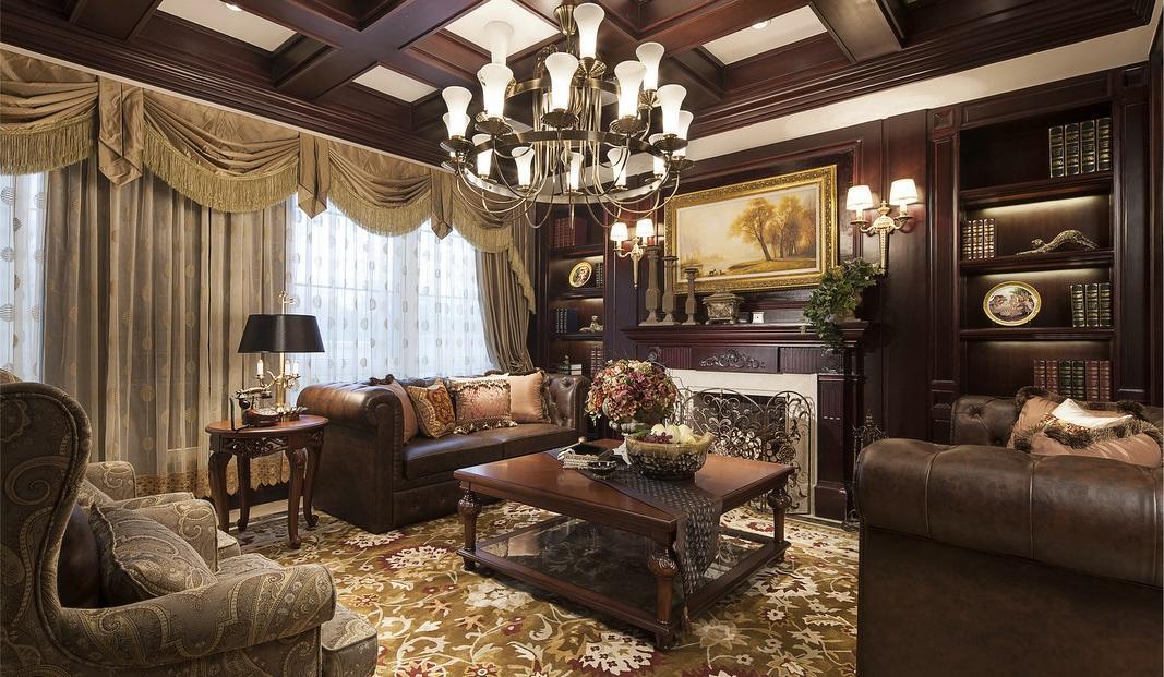 温馨古典豪华欧式别墅客厅装潢案例图