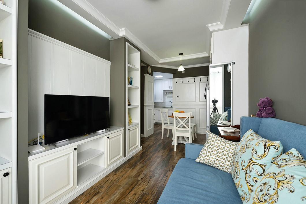 美式设计一居室餐客厅设计效果图