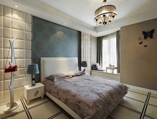 现代简约时尚卧室混搭背景墙效果图