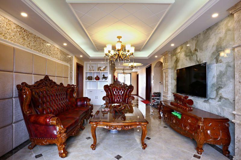 实木欧式现代混搭客厅背景墙效果图