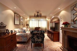 舒适温馨复古美式风格三居设计装潢效果图