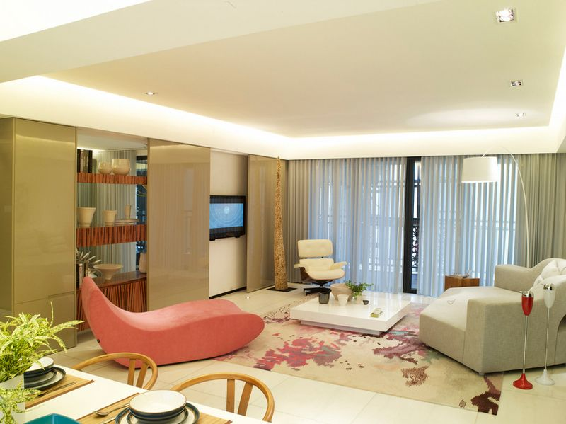 现代简约小清新客厅窗帘效果图
