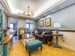 色彩鲜明美式乡村客厅搭配效果图