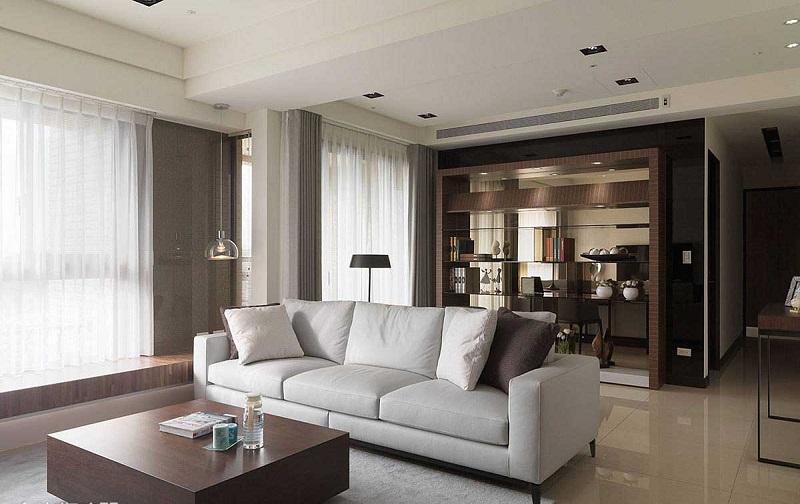 摩登现代客厅博古架设计效果图