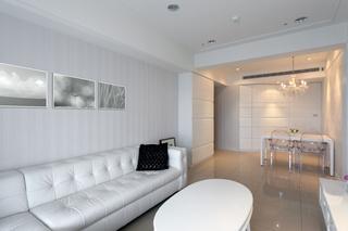 纯白浪漫简欧风格二居室客餐厅一体化效果图