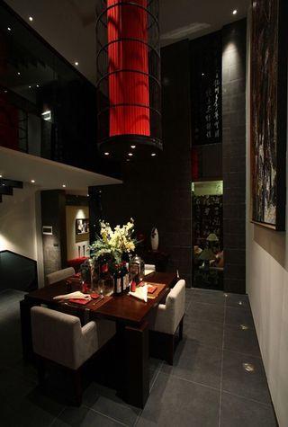 色彩浓重现代中式风格餐厅装潢效果图片
