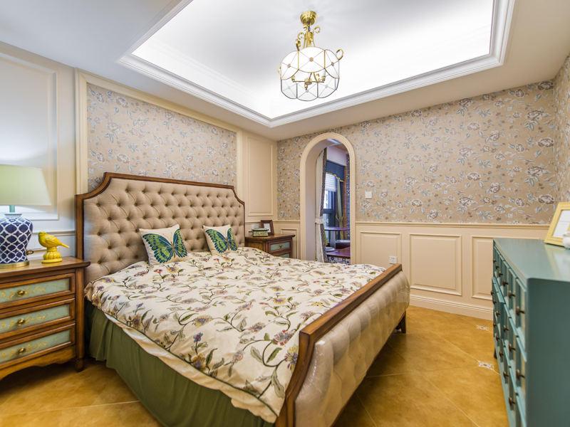 美式清新乡村卧室软装效果图