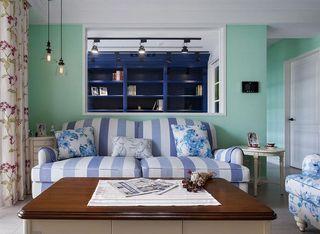 小清新美式混搭客厅创意展示柜效果图