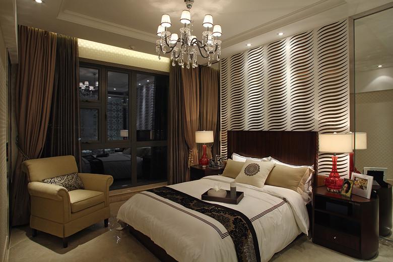 现代简约欧式风次卧镂空背景墙效果图