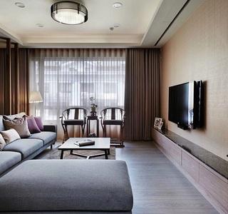 简约中式风格客厅窗帘搭配效果图