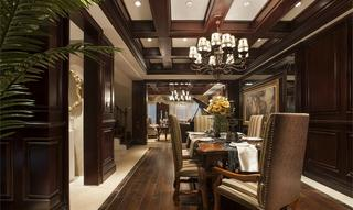 古典豪华欧式餐厅实木吊顶效果图