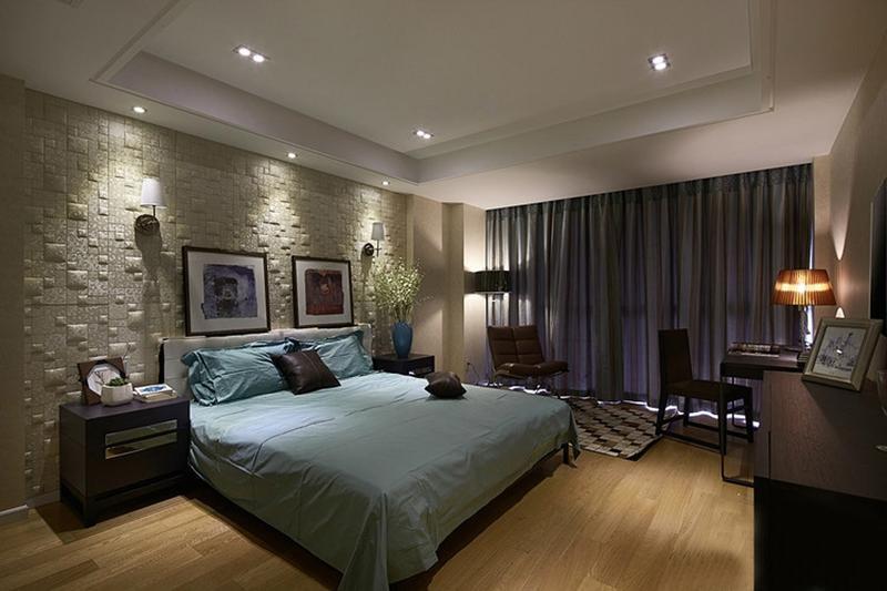 现代风格卧室特色浮雕背景墙效果图
