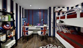 蓝调波普风儿童房双人床设计