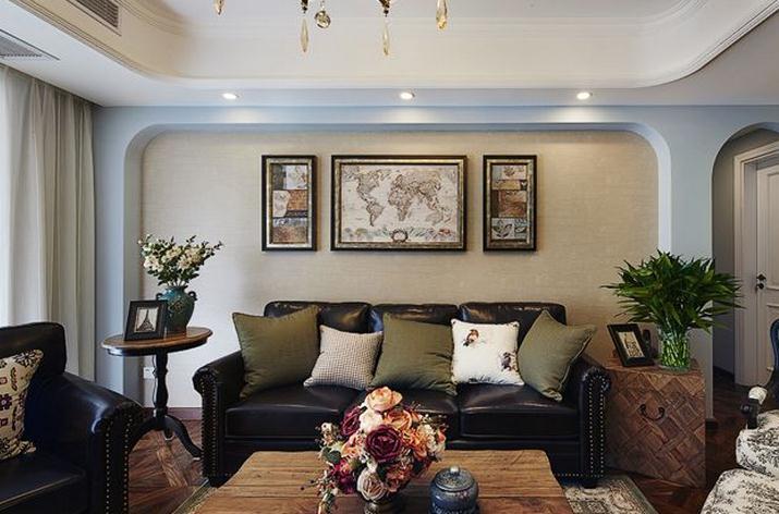 复古美式客厅沙发背景墙效果图