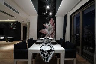 暗色摩登现代简中式餐厅效果图