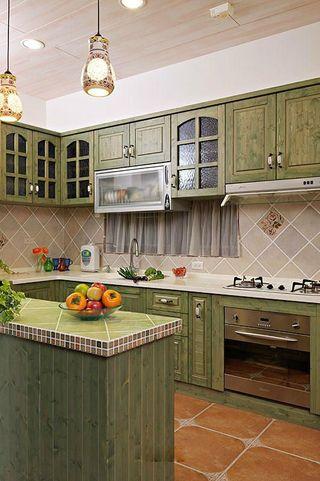 乡村田园风格厨房绿色橱柜效果图
