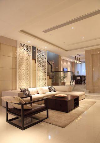 现代客厅中式雕花隔断效果图