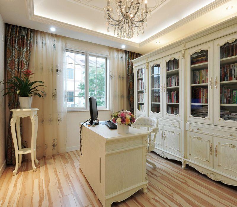 优雅欧式书房白色书柜设计装修效果图片