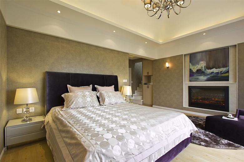 现代欧式混搭卧室相片墙效果图