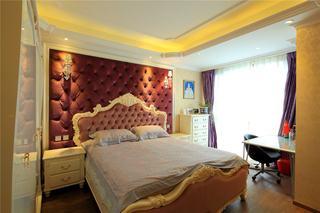 端庄大气欧式三居卧室床头背景墙装潢效果图