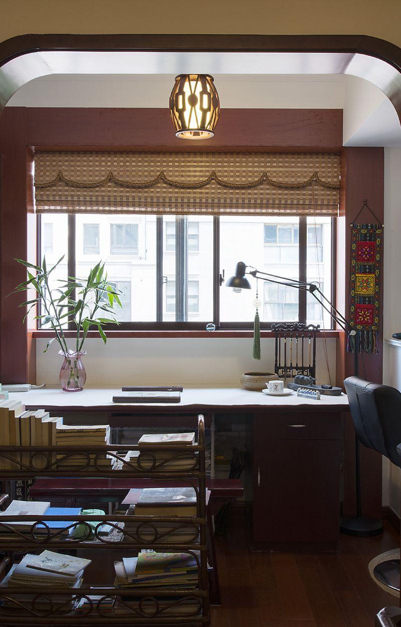 复古中式书房窗户腰线效果图片