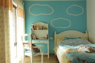 蔚蓝田园风格儿童房背景墙装潢效果图片