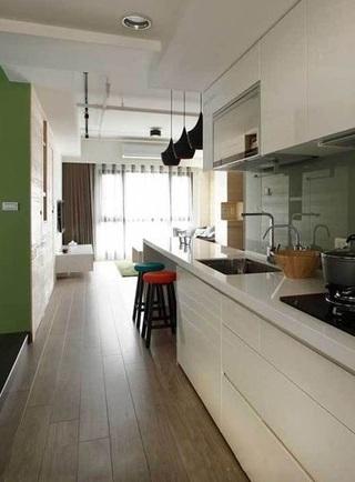 现代简约开放式白色厨房设计