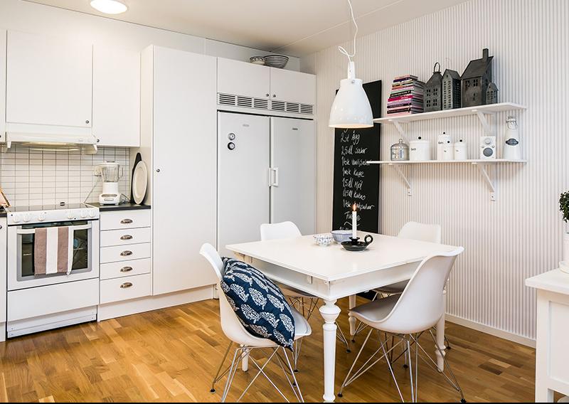 清新宜家北欧小厨房餐厅一体效果图