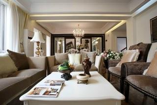 低奢北欧风客厅沙发镜面背景墙装修效果图片