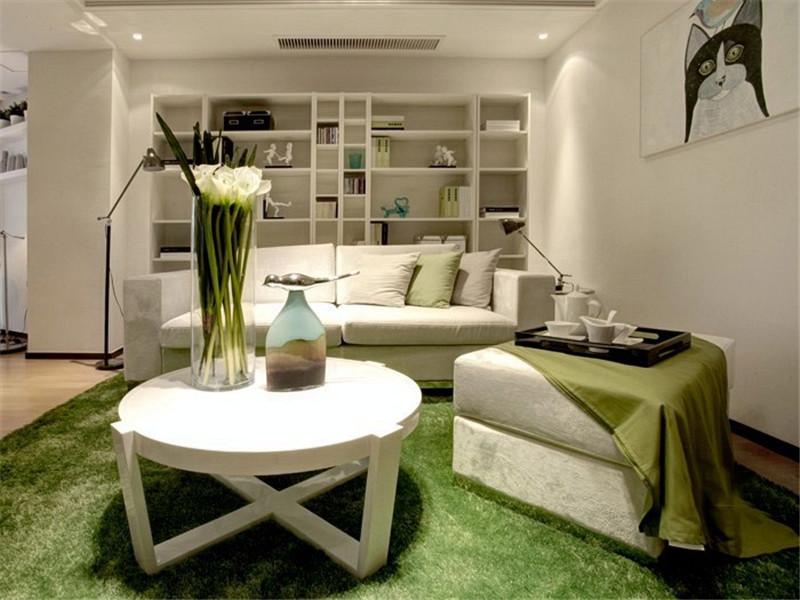 60平清绿简约风格二居客厅地毯设计效果图