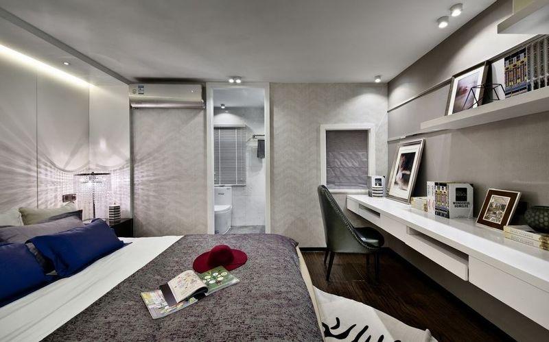 时尚灰白后现代风格卧室设计