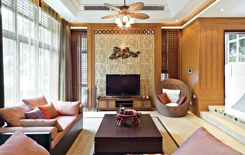 木质现代中式风格别墅设计案例图
