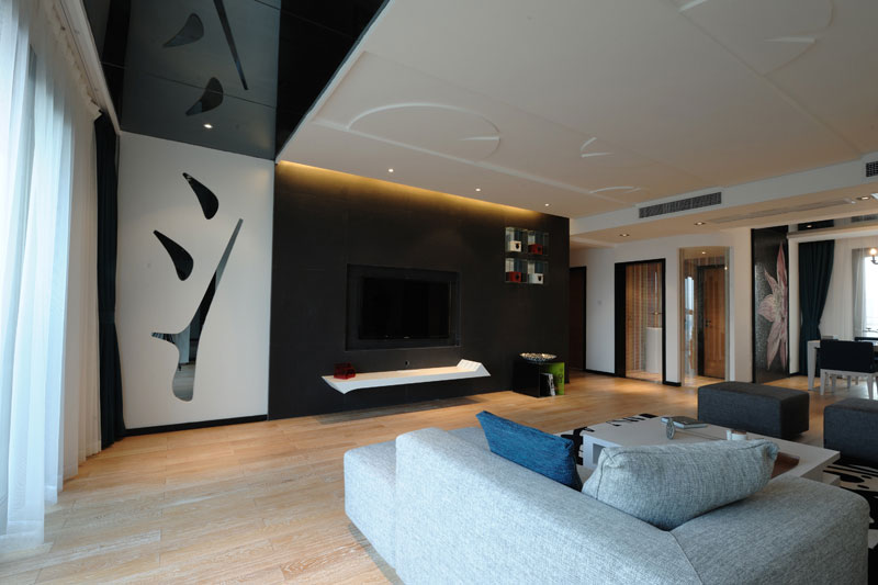 时尚摩登现代简中式客厅电视背景墙