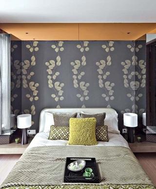 典雅华贵新中式风格卧室床头装饰效果图