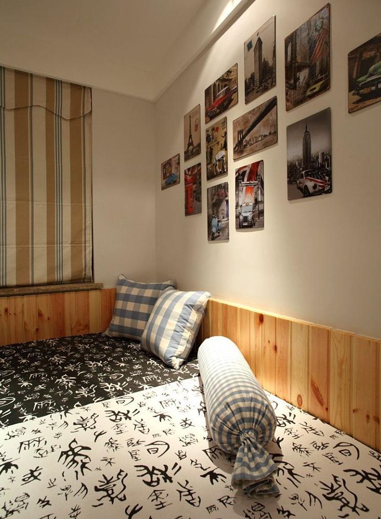 简约复古北欧风卧室相片墙图片